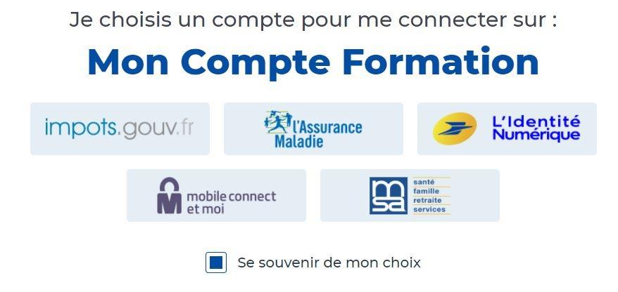 Connexion à Mon Compte Formation avec les services d'identification FranceConnect