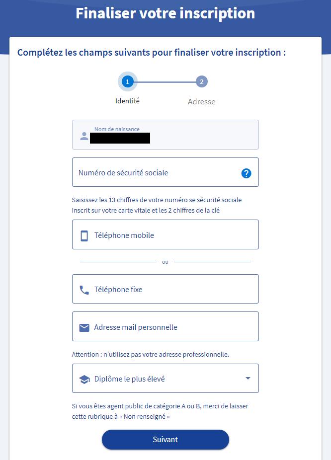 Remplir le formulaire pour finaliser votre inscription